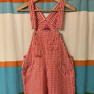 No boundaries red and white gingham short overalls